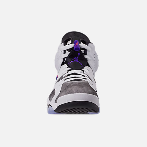 Front view of Men's Jordan Retro 6 LTR Basketball Shoes in Light Armory Blue/Dark Concord/Obsidian