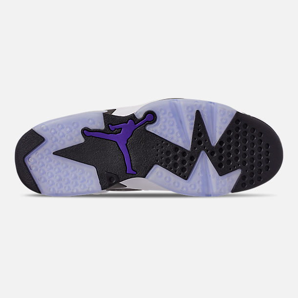Bottom view of Men's Jordan Retro 6 LTR Basketball Shoes in Light Armory Blue/Dark Concord/Obsidian