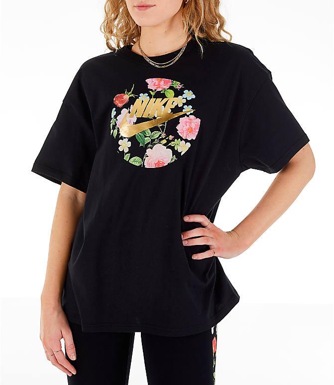 3b10cc5d Front view of Women's Nike Sportswear Essential Boyfriend Floral T-Shirt
