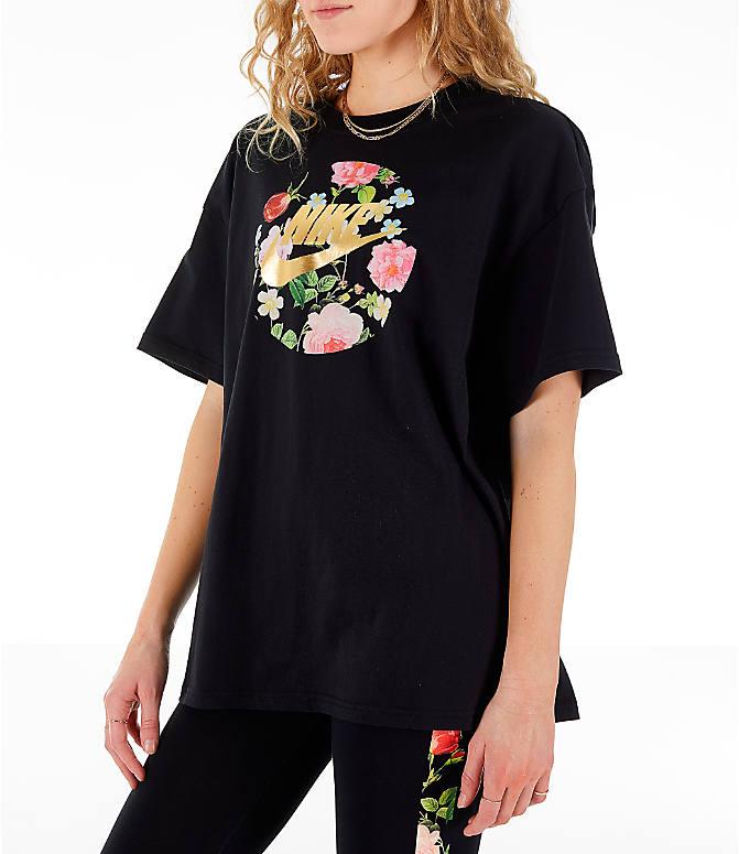 c8ed1a2fc Front Three Quarter view of Women's Nike Sportswear Essential Boyfriend  Floral T-Shirt