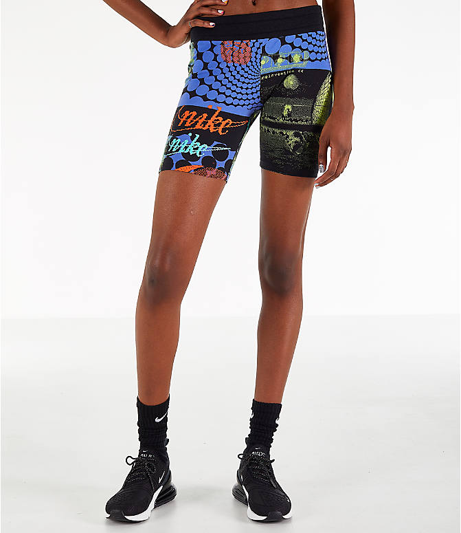 Front view of Women s Nike Sportswear Allover Print Rave Bike Shorts in  Black Neon Print afc00120cc