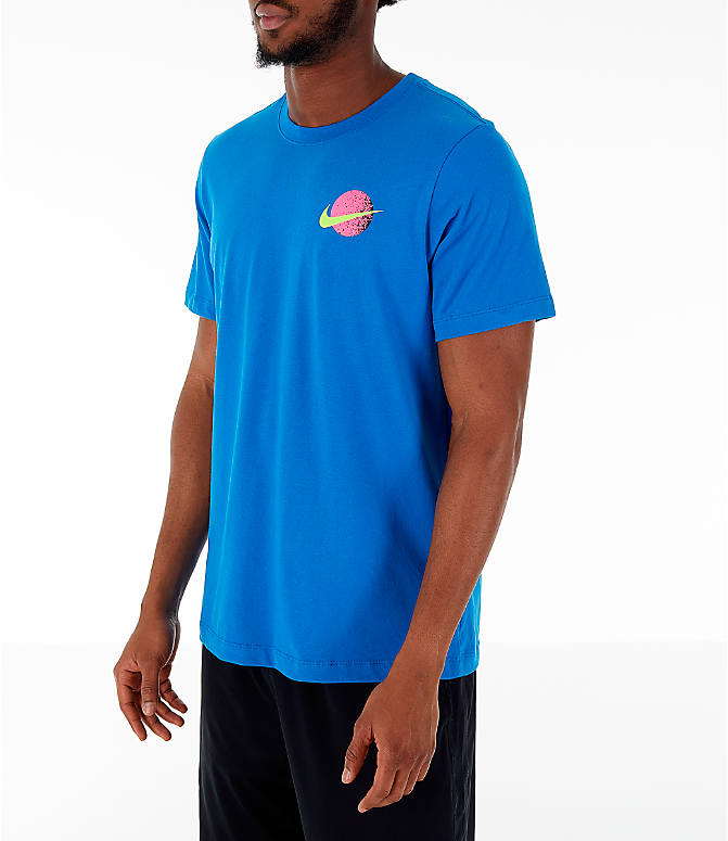Front Three Quarter view of Men's Nike 90's Basketball T-Shirt in Blue Nebula