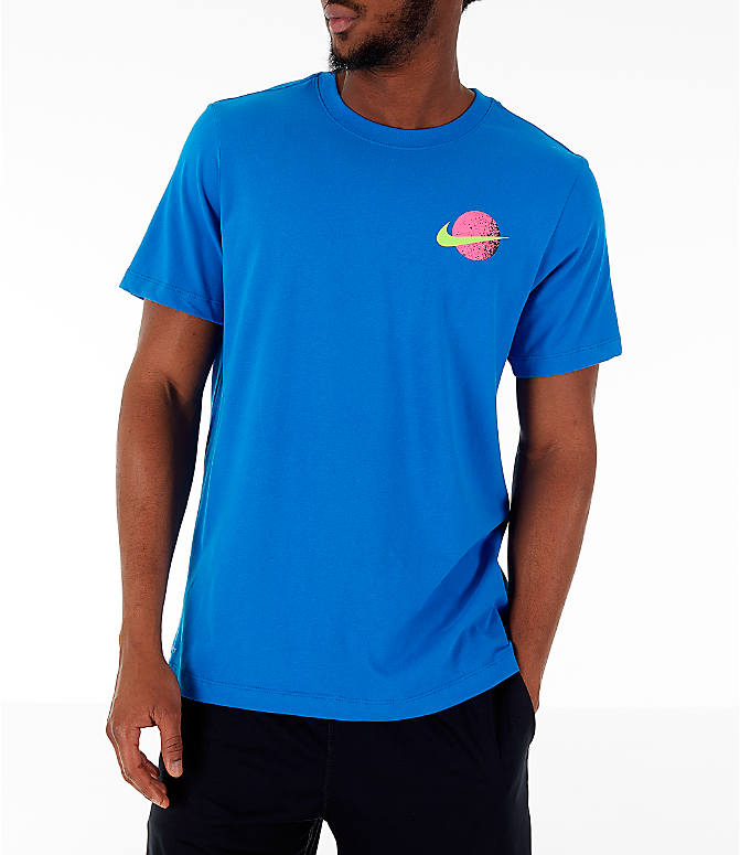 Back Right view of Men's Nike 90's Basketball T-Shirt in Blue Nebula