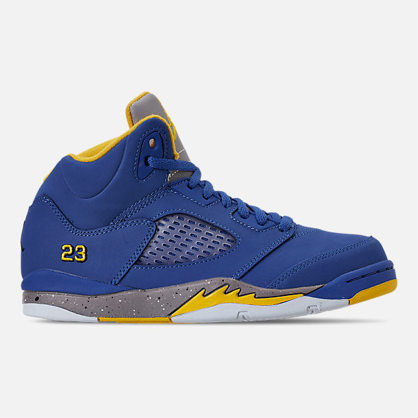 Right view of Little Kids' Air Jordan Retro 5 Laney JSP Basketball Shoes in Varsity Royal/Varsity Maize