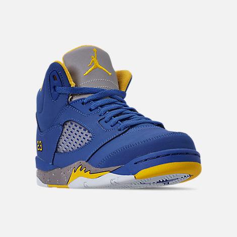 Three Quarter view of Little Kids' Air Jordan Retro 5 Laney JSP Basketball Shoes in Varsity Royal/Varsity Maize