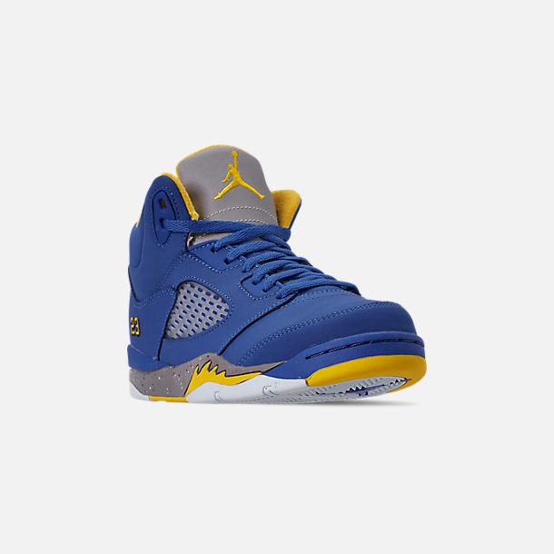 41915445b06 Three Quarter view of Little Kids' Air Jordan Retro 5 Laney JSP Basketball  Shoes in