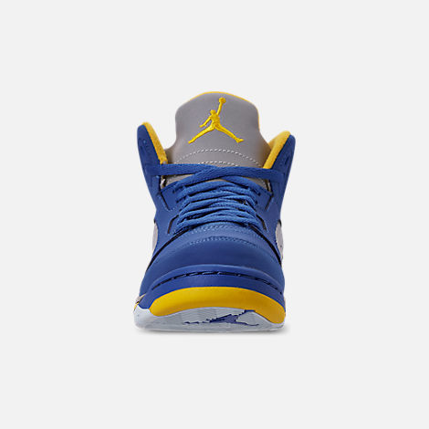 Front view of Little Kids' Air Jordan Retro 5 Laney JSP Basketball Shoes in Varsity Royal/Varsity Maize