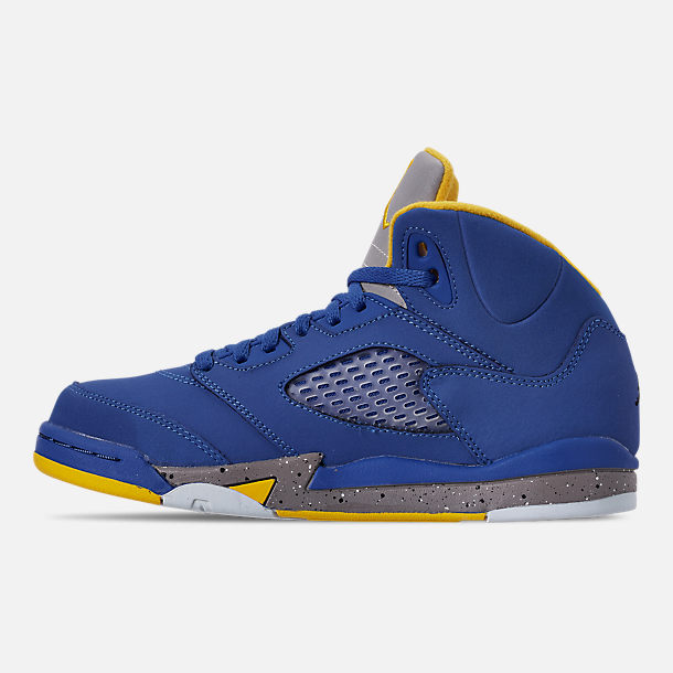 Left view of Little Kids' Air Jordan Retro 5 Laney JSP Basketball Shoes in Varsity Royal/Varsity Maize