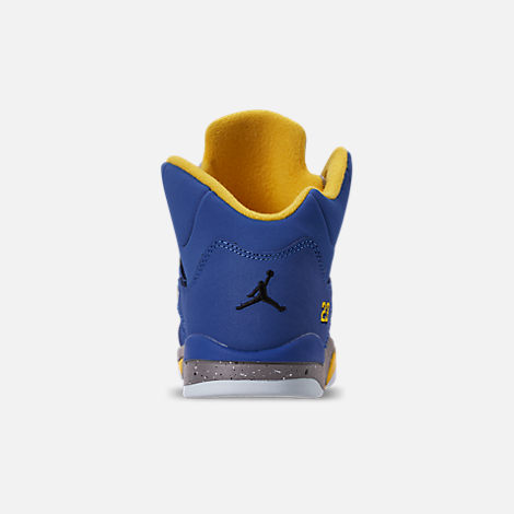 Back view of Little Kids' Air Jordan Retro 5 Laney JSP Basketball Shoes in Varsity Royal/Varsity Maize