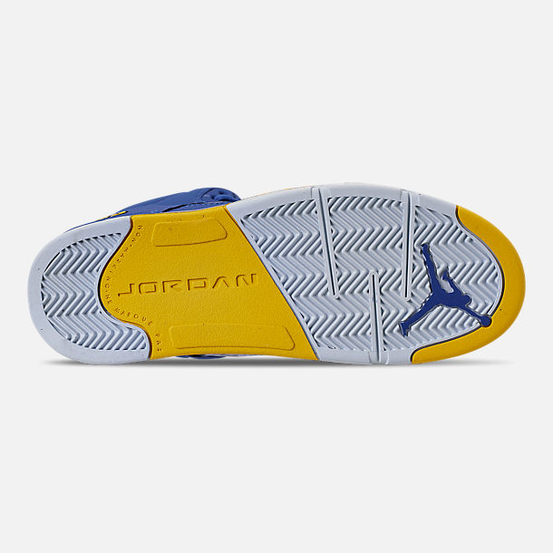 Bottom view of Little Kids' Air Jordan Retro 5 Laney JSP Basketball Shoes in Varsity Royal/Varsity Maize