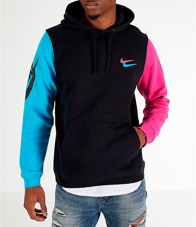 Front view of Men s Nike Sportswear City Brights Hoodie in Black Blue Fury 9ab61116a