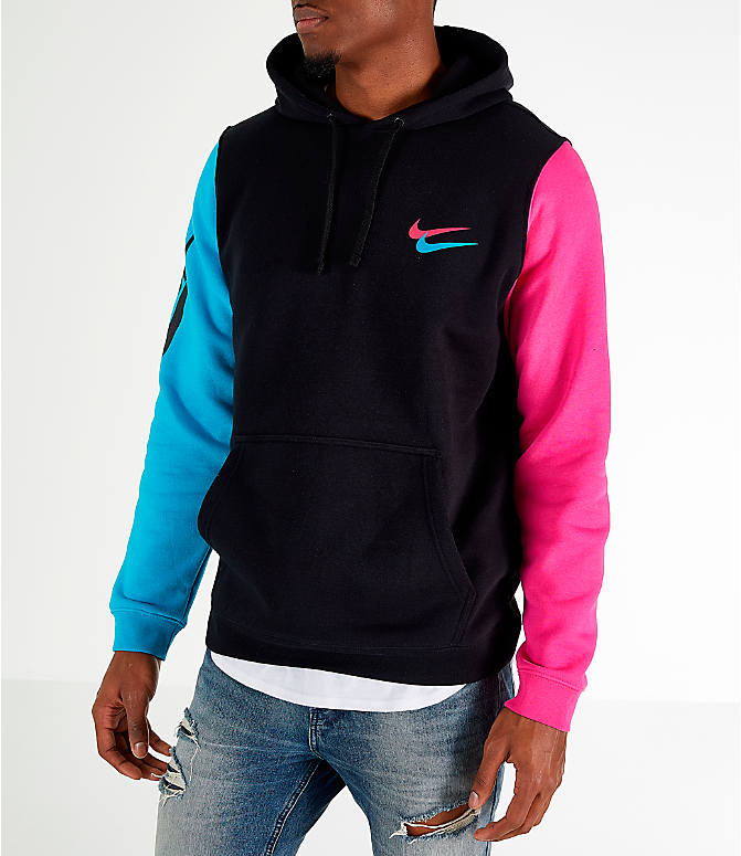 Front Three Quarter view of Men's Nike Sportswear City Brights Hoodie in Black/Blue Fury