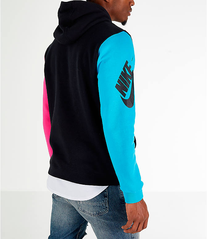 Back Right view of Men's Nike Sportswear City Brights Hoodie in Black/Blue Fury