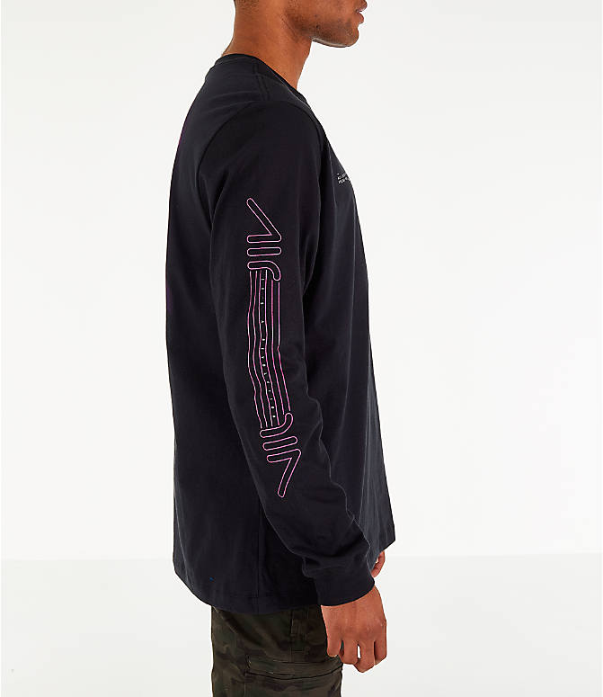 Front Three Quarter view of Men's Nike Sportswear Future Long-Sleeve T-Shirt in Black