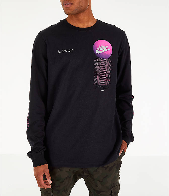 Back Left view of Men's Nike Sportswear Future Long-Sleeve T-Shirt in Black