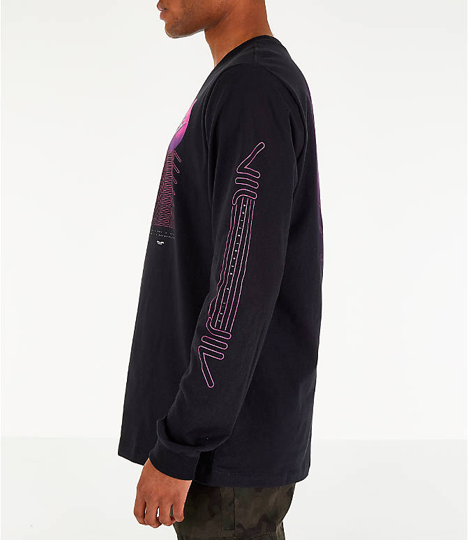 Back Right view of Men's Nike Sportswear Future Long-Sleeve T-Shirt in Black