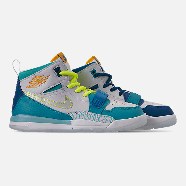 Right view of Boys' Little Kids' Air Jordan Legacy 312 SE Off-Court Shoes in Blue Lagoon/Clear/Team Royal/Off White