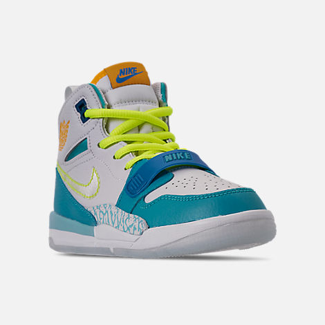Three Quarter view of Boys' Little Kids' Air Jordan Legacy 312 SE Off-Court Shoes in Blue Lagoon/Clear/Team Royal/Off White