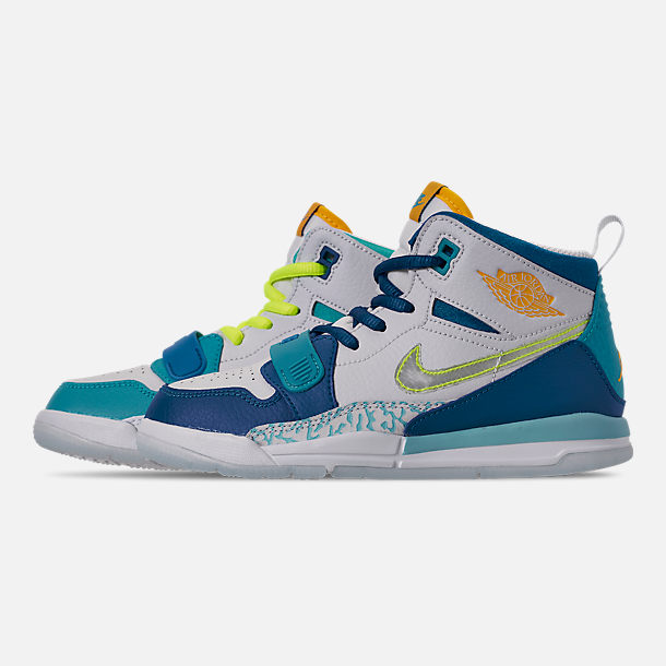 Left view of Boys' Little Kids' Air Jordan Legacy 312 SE Off-Court Shoes in Blue Lagoon/Clear/Team Royal/Off White