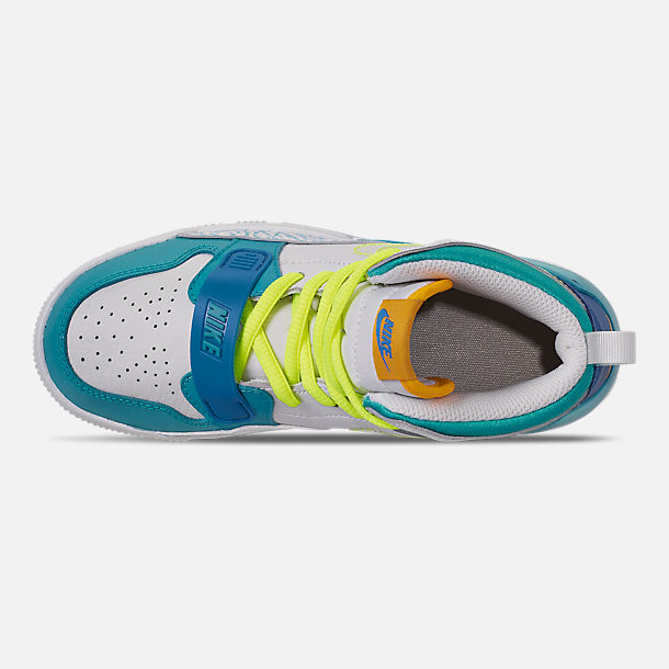 Top view of Boys' Little Kids' Air Jordan Legacy 312 SE Off-Court Shoes in Blue Lagoon/Clear/Team Royal/Off White