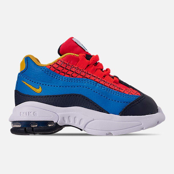 Right view of Boys' Toddler Nike Air Max 95 Now Casual Shoes in Bright Crimson/Amarillo/Photo Blue