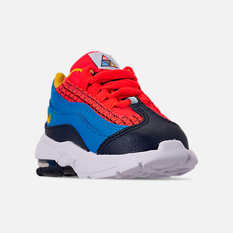 Three Quarter view of Boys' Toddler Nike Air Max 95 Now Casual Shoes in Bright Crimson/Amarillo/Photo Blue