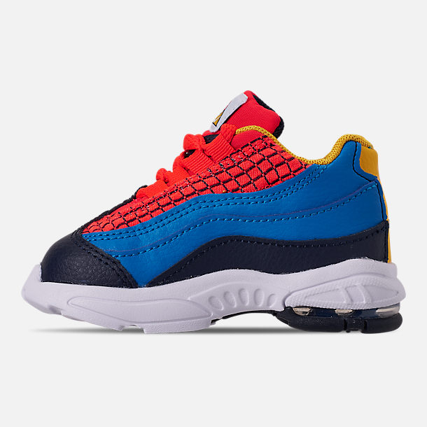 Left view of Boys' Toddler Nike Air Max 95 Now Casual Shoes in Bright Crimson/Amarillo/Photo Blue