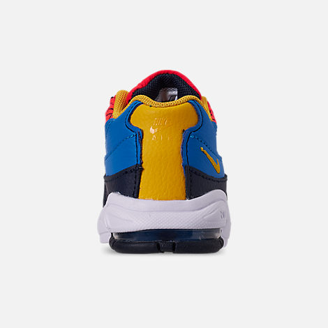 Back view of Boys' Toddler Nike Air Max 95 Now Casual Shoes in Bright Crimson/Amarillo/Photo Blue
