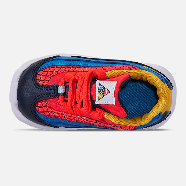Top view of Boys' Toddler Nike Air Max 95 Now Casual Shoes in Bright Crimson/Amarillo/Photo Blue