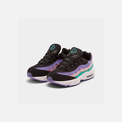 Three Quarter view of Little Kids' Nike Air Max 95 Casual Shoes in Black/White/Hyper Jade/Bleached Coral