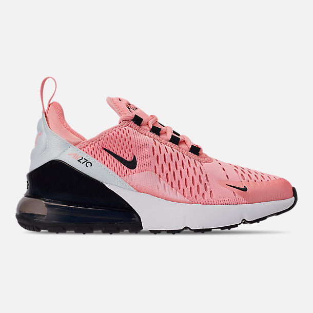 Right view of Girls' Big Kids' Nike Air Max 270 Casual Shoes in Bleached Coral/Black/White/Anthracite
