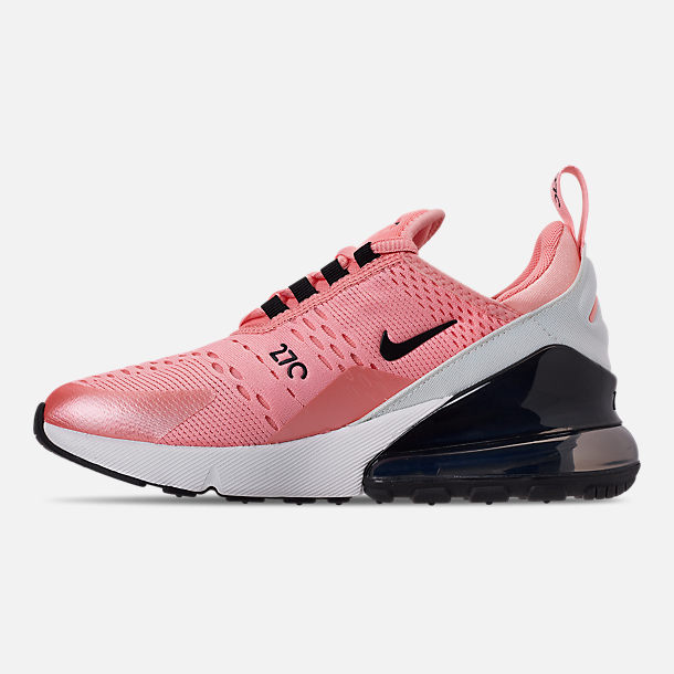 Left view of Girls' Big Kids' Nike Air Max 270 Casual Shoes in Bleached Coral/Black/White/Anthracite