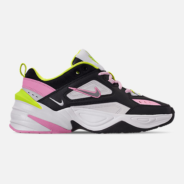 Right view of Women's Nike M2K Tekno Casual Shoes in Black/Metallic Silver/Pink Rise/Cyber