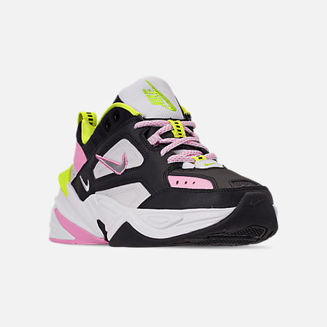 Three Quarter view of Women's Nike M2K Tekno Casual Shoes in Black/Metallic Silver/Pink Rise/Cyber