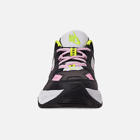 Front view of Women's Nike M2K Tekno Casual Shoes in Black/Metallic Silver/Pink Rise/Cyber