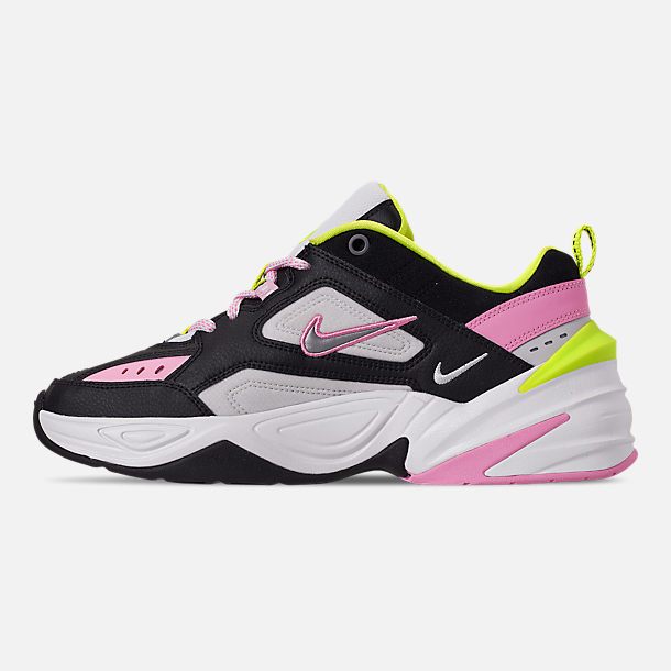Left view of Women's Nike M2K Tekno Casual Shoes in Black/Metallic Silver/Pink Rise/Cyber