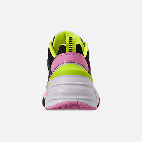 Back view of Women's Nike M2K Tekno Casual Shoes in Black/Metallic Silver/Pink Rise/Cyber