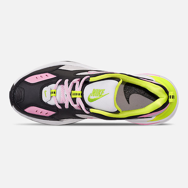 Top view of Women's Nike M2K Tekno Casual Shoes in Black/Metallic Silver/Pink Rise/Cyber