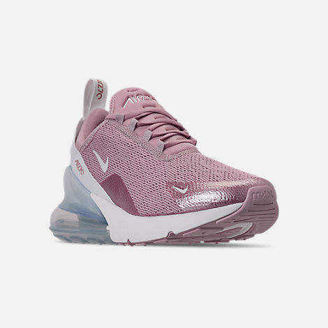 Three Quarter view of Women's Nike Air Max 270 Casual Shoes in Plum Chalk/Summit White/Metallic Silver