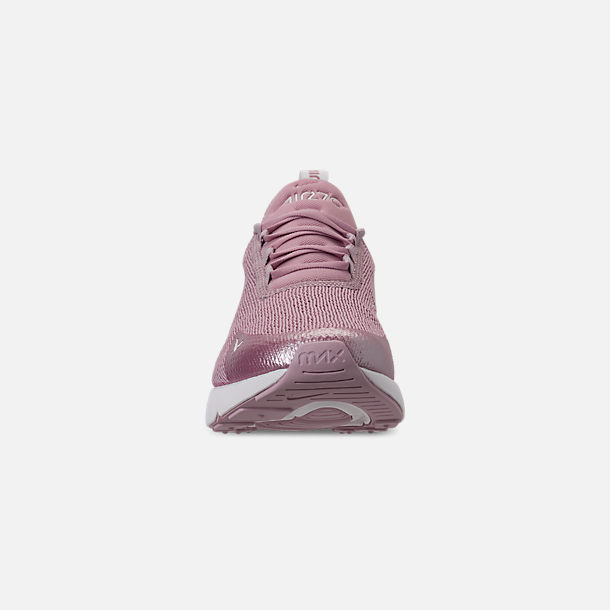 Front view of Women's Nike Air Max 270 Casual Shoes in Plum Chalk/Summit White/Metallic Silver