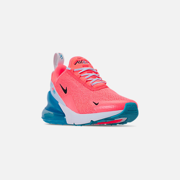 Three Quarter view of Women's Nike Air Max 270 Casual Shoes in Lava Glow/Black/Metallic Silver