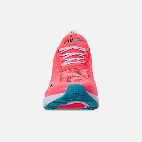 Front view of Women's Nike Air Max 270 Casual Shoes in Lava Glow/Black/Metallic Silver