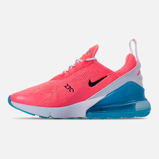 Left view of Women's Nike Air Max 270 Casual Shoes in Lava Glow/Black/Metallic Silver