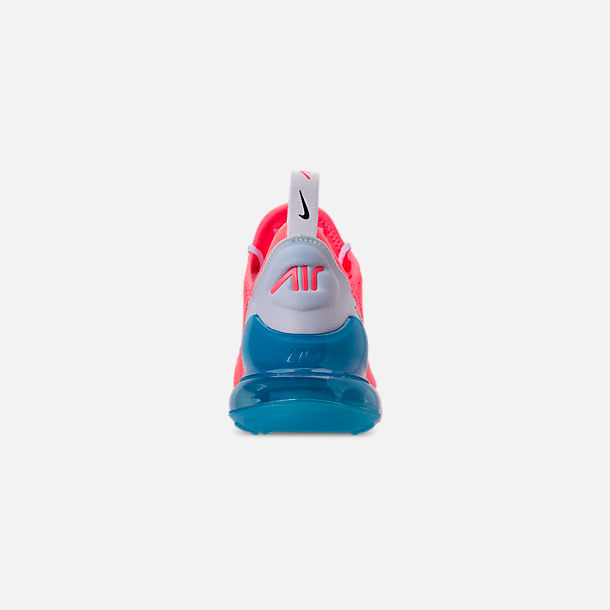 Back view of Women's Nike Air Max 270 Casual Shoes in Lava Glow/Black/Metallic Silver