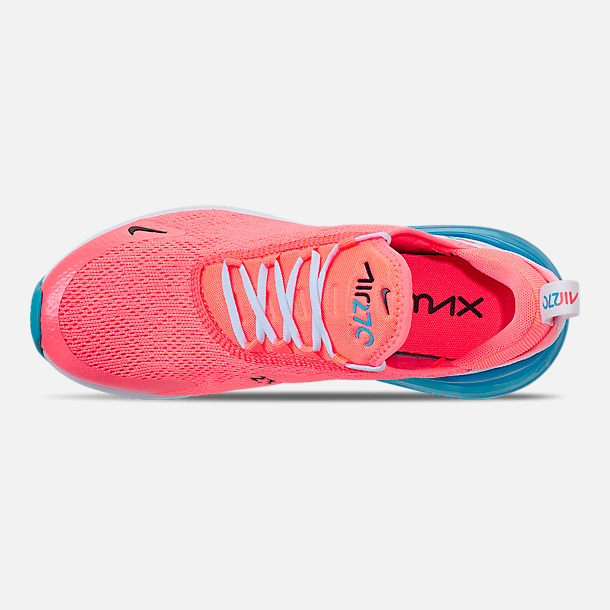 Top view of Women's Nike Air Max 270 Casual Shoes in Lava Glow/Black/Metallic Silver