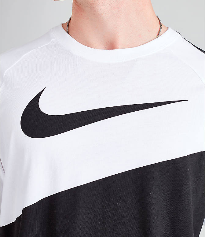 Detail 1 view of Men's Nike Sportswear Swoosh Long-Sleeve T-Shirt in White/Black/Black