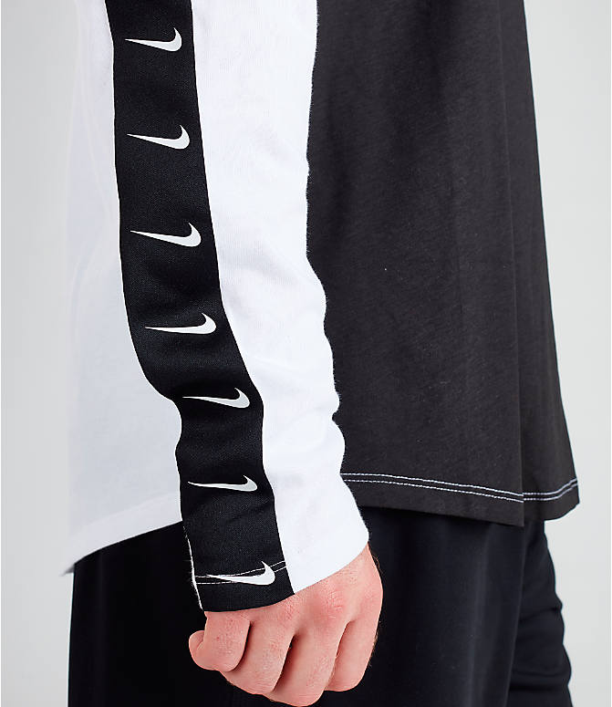 Detail 2 view of Men's Nike Sportswear Swoosh Long-Sleeve T-Shirt in White/Black/Black