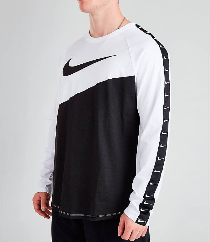 Front view of Men's Nike Sportswear Swoosh Long-Sleeve T-Shirt in White/Black/Black