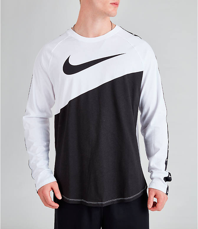 Front Three Quarter view of Men's Nike Sportswear Swoosh Long-Sleeve T-Shirt in White/Black/Black