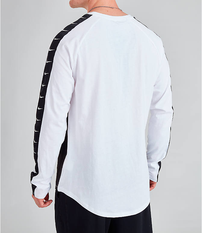 Back Left view of Men's Nike Sportswear Swoosh Long-Sleeve T-Shirt in White/Black/Black